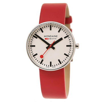 Mondaine A763.30362.11SBC Women's Mini Giant Swiss Red Leather Strap White Dial Quartz Watch