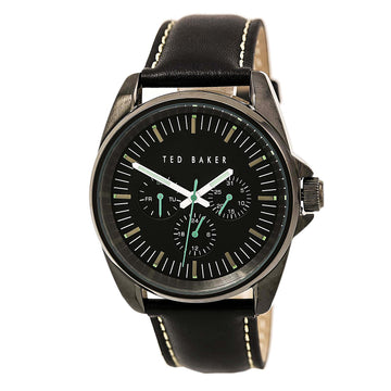 Ted Baker 10025262 Men's Vintage Quartz Black Leather Strap Black Dial