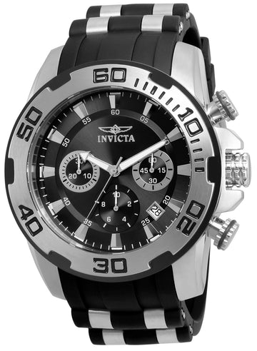 Invicta Men's Chronograph Watch - Pro Diver Steel & Silicone Band Black Dial | 22311
