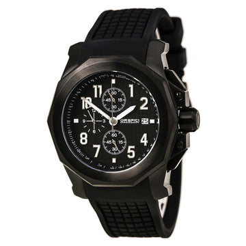 Orefici ORM6C4402 Men's Galante Quartz Black IP Steel Black Rubber Strap Chrono Black Dial Watch
