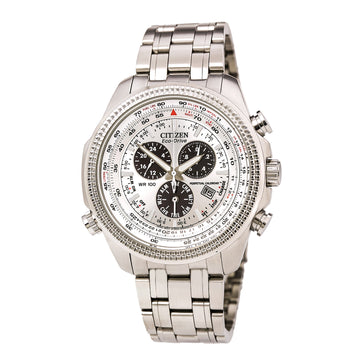 Citizen BL5400-52A Men's Perpetual Calendar Chronograph Eco-Drive Silver Dial Stainless Steel Watch