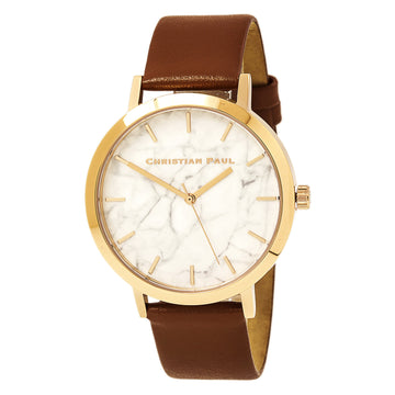 Christian Paul MR-06 Men's Avalon Marble Brown Leather Watch