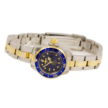 Invicta 8942 Women's Two Tone Yellow Steel Bracelet Quartz Pro Diver Blue Dial Date Watch