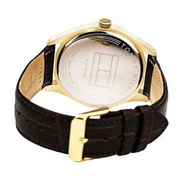 Tommy Hilfiger 1791170 Men's Yellow Gold Steel Brown Leather Strap White Watch