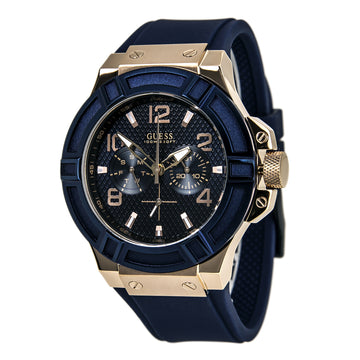 Guess U0247G3 Men's Blue Rubber Band Quartz Trendy Blue Dial Day-Date Watch
