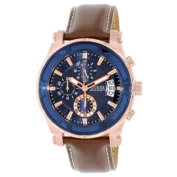 Guess U0673G3 Mens Blue Dial Chrono Brown Leather Band Watch