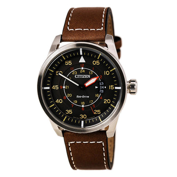 Citizen Men's Leather Strap Watch - Avion Eco-Drive Charcoal Dial | AW1361-10H