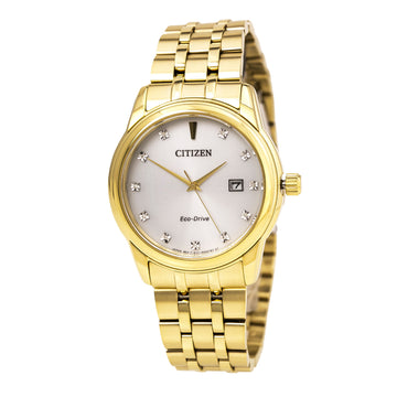 Citizen Men's Diamond Watch - Eco-Drive Yellow Gold Steel Silver Dial | BM7342-50A