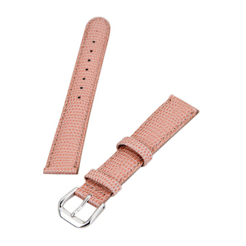 Debeer Pink 16 mm Lizard Grain Leather Strap