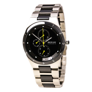 Bering 32339-722 Men's Ceramic Quartz Black Dial Steel & Ceramic Day Date Watch