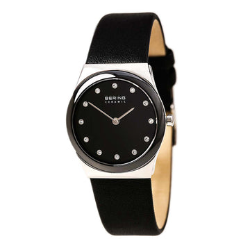 Bering 32230-442 Women's Ceramic Quartz Black Ceramic Bezel Black Calfskin Leather Strap Watch