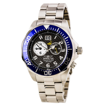 Invicta Men's Grand Diver Black Carbon Fiber Dial Watch - Dual Time Steel Bracelet