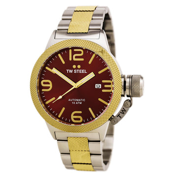 TW Steel CB75 Men's Canteen Bracelet Automatic Red Dial Two Tone Yellow Gold Plated Steel Watch