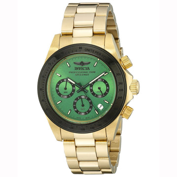 Invicta Men's Chronograph Watch - Speedway Yellow Steel Bracelet Green Dial | 17315