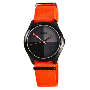 Nixon A3441178 Men's The Quad Neon Orange Nylon Strap Grey & Black Dial Quartz Watch
