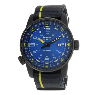 Traser Men's Automatic Watch - P68 Pathfinder Blue Dial Leather Strap | 107719