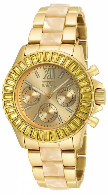 Invicta Women's Steel & Resin Bracelet Watch - Angel Swarovski Crystal Gold Dial