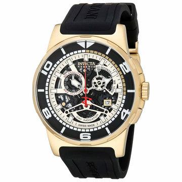 Invicta Men's Reserve Chronograph Watch - Sea Vulture Skeleton Dial Black Strap