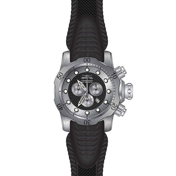 Invicta 20439 Men's Venom Black & Silver Tone Dial Black Rubber Strap Chronograph Dive Watch