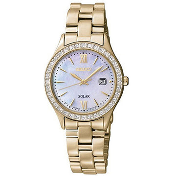 Seiko SUT076 Women's Solar Yellow Gold Plated Steel Bracelet MOP Dial Date Watch