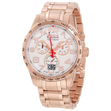 Invicta 10743 Men's Reserve Chrono Swiss Quartz Rose Gold Bracelet White Dial Day-Date Watch