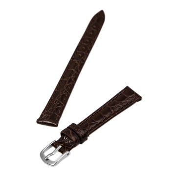 Hadley Roma Brown 12 mm Wide Crocodile Grain Leather Strap