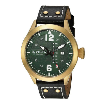Invicta Men's Strap Watch - I-Force Quartz Green Dial Black Leather Day Date | 22185