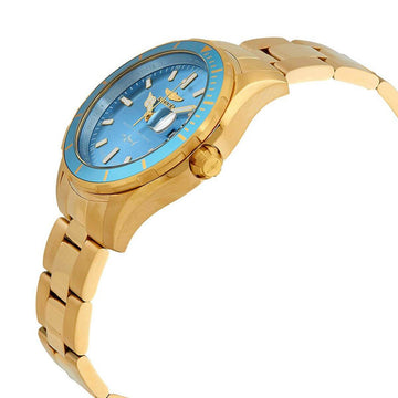 Invicta Men's Bracelet Watch - Pro Diver Metallic Blue Dial Yellow Steel | 25813