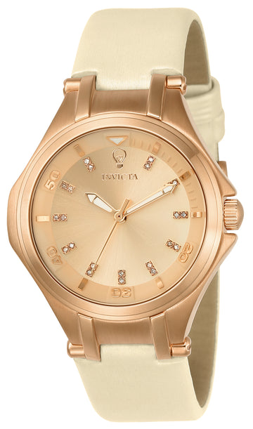 Invicta Women's Rose Gold Dial Diamond Watch - Gabrielle Union Leather Strap | 23254