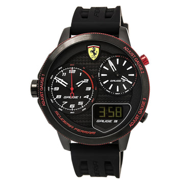 Ferrari 830318 Men's Lefty Rubber Strap Quartz XX Kers Black Dial Ana-Digi Watch