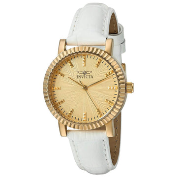 Invicta 22483 Women's White Leather Strap Quartz Angel Textured Gold Tone Dial Watch