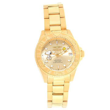 Invicta Women's Automatic Watch - Snoopy Character Champagne Dial Yellow Gold Steel