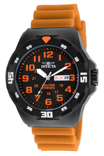 Invicta Men's Strap Watch - Coalition Forces Black Dial Orange Silicone | 25329