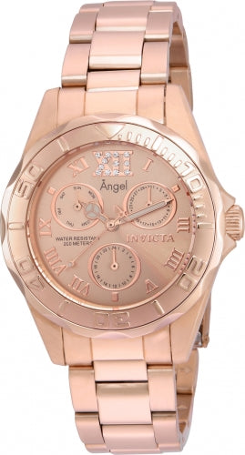 Invicta 21698 Women's Angel Crystal Accented Rose Gold Dial Rose Gold Steel Bracelet Dive Watch