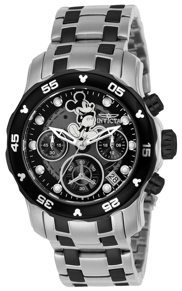 Invicta 24131 Women's Disney Edition Chronograph Black Dial Two Tone Steel Bracelet Dive Watch