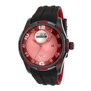 Invicta Men's Strap Watch - Lupah Gunmetal & Silver Dial Black & Red Rubber | 25101