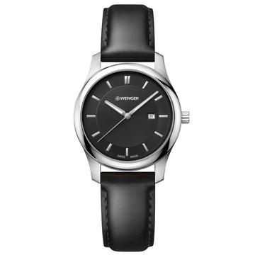 Wenger 01.1421.103 Women's City Classic Black Leather Strap Swiss Quartz Black Dial Date Watch