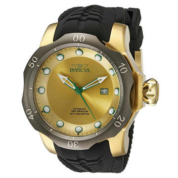 Invicta Men's Automatic Watch - Venom Sea Dragon Black Silicone Strap Gold Dial
