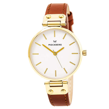 Mockberg MO1003 Women's Nora Quartz Yellow Gold Steel Brown Leather Strap White Dial Watch