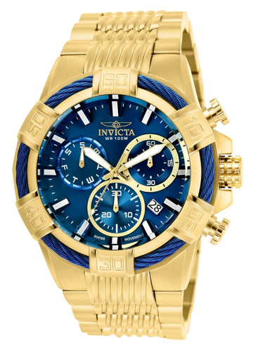 Invicta Men's Chronograph Watch - Bolt Blue Dial Yellow Steel Bracelet | 25866