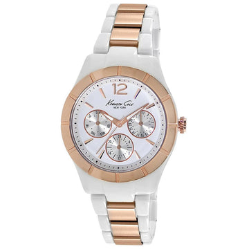 Kenneth Cole KC0001 Women's Steel & Plastic Bracelet Quartz Classic White Dial Day-Date Watch