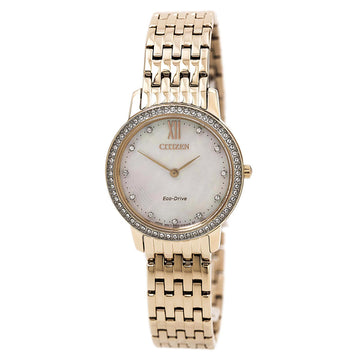 Citizen Women's Silhouette Crystal Watch - Eco Drive MOP Dial Rose Gold Steel