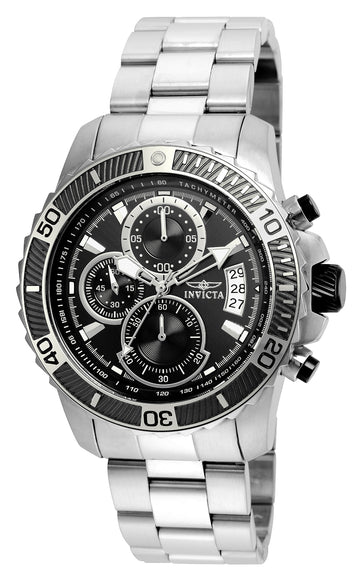 Invicta 22412 Men's Steel Bracelet Quartz Pro Diver Chrono Black Dial Date Watch