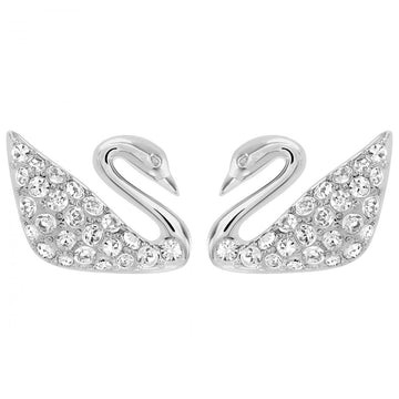 Swarovski 1116357 Women's Rhodium-Plated Clear Crystal Swan Pierced Earrings, 3/8""