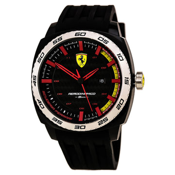 Ferrari 830201 Men's Black Silicone Strap Quartz Aerodinamico Black Dial Date Watch