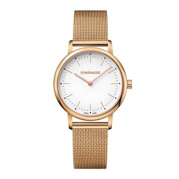 Wenger Women's Yellow Gold Steel Watch - Urban Classic Swiss White Dial | 01.1721.113