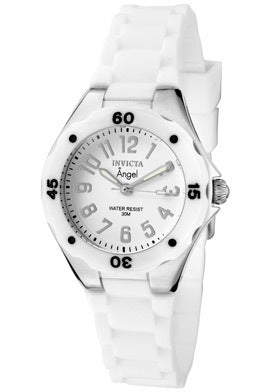 Invicta 1626 Women's White Silicone Band Swiss Quartz Angel White Dial Watch