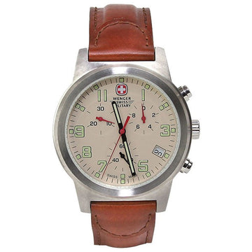 Wenger 72953 Men's Military Field Beige Dial Brown Leather Strap Chronograph Watch
