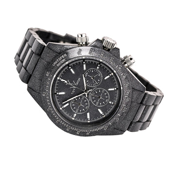 Toy FLP08BK Women's Black Plasteramic Bracelet Chronograph Black Dial Quartz Watch