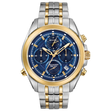 Bulova Men's Chronograph Two Tone Steel Watch - Precisionist Blue Dial | 98B276